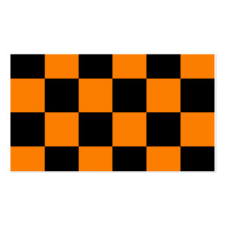 Checkered Large - Black and Orange Pack Of Standard Business Cards