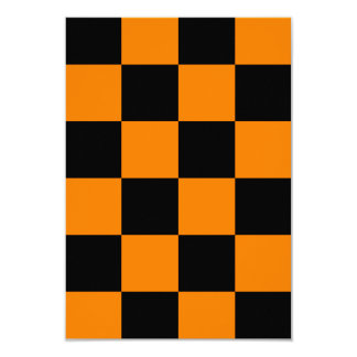 Checkered Large - Black and Orange Card