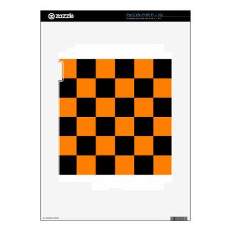 Checkered Large - Black and Orange iPad 2 Decal