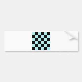 Checkered Large - Black and Pale Blue Bumper Sticker