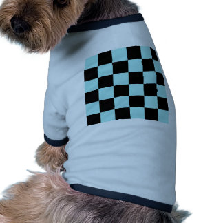 Checkered Large - Black and Pale Blue Dog Tee Shirt