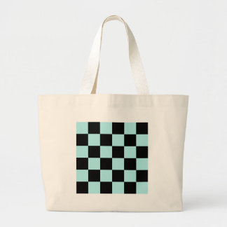 Checkered Large - Black and Pale Blue Large Tote Bag