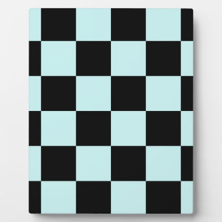 Checkered Large - Black and Pale Blue Plaque