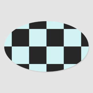 Checkered Large - Black and Pale Blue Oval Stickers