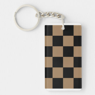 Checkered Large - Black and Pale Brown Double-Sided Rectangular Acrylic Keychain