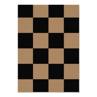 Checkered Large - Black and Pale Brown 3.5x5 Paper Invitation Card