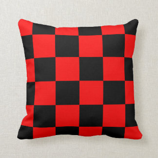 Checkered Large - Black and Red Throw Pillow
