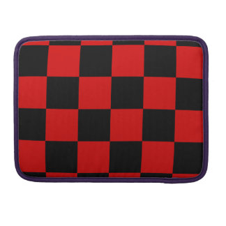 Checkered Large - Black and Rosso Corsa MacBook Pro Sleeve