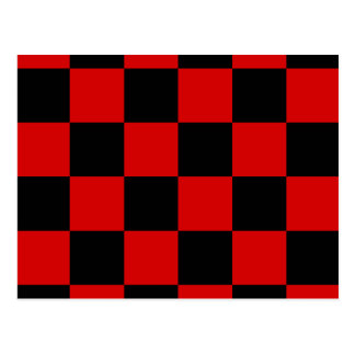 Checkered Large - Black and Rosso Corsa Postcard