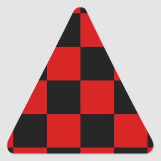 Checkered Large - Black and Rosso Corsa Triangle Sticker