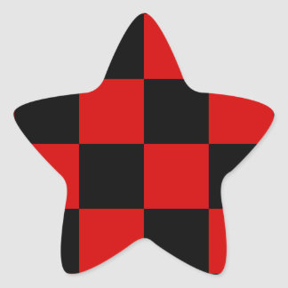 Checkered Large - Black and Rosso Corsa Star Sticker