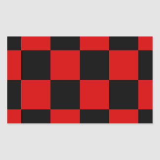 Checkered Large - Black and Rosso Corsa Rectangular Sticker