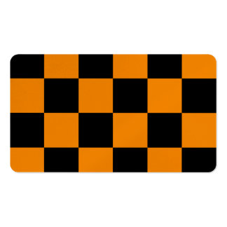 Checkered Large - Black and Tangerine Pack Of Standard Business Cards