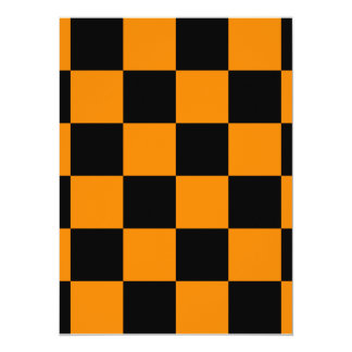 Checkered Large - Black and Tangerine Card