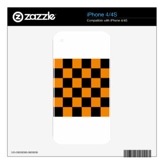 Checkered Large - Black and Tangerine Decals For iPhone 4