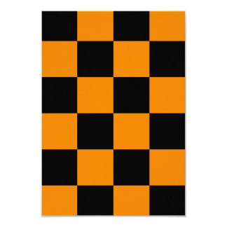 Checkered Large - Black and Tangerine 3.5x5 Paper Invitation Card
