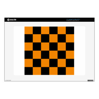 Checkered Large - Black and Tangerine Laptop Skin