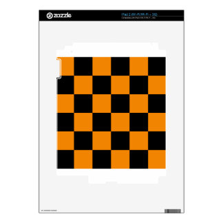 Checkered Large - Black and Tangerine Skins For The iPad 2
