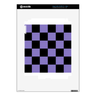 Checkered Large - Black and Ube Decal For iPad 2