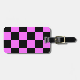 Checkered Large - Black and Ultra Pink Travel Bag Tags