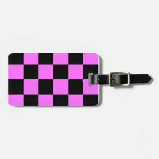 Checkered Large - Black and Ultra Pink Tag For Luggage