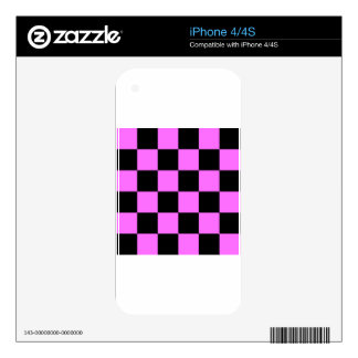Checkered Large - Black and Ultra Pink Skin For The iPhone 4