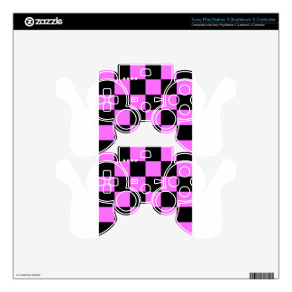 Checkered Large - Black and Ultra Pink PS3 Controller Decals