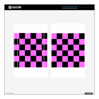 Checkered Large - Black and Ultra Pink Skins For Kindle Fire