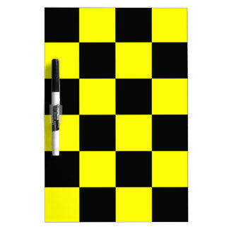Checkered Large - Black and Yellow Dry Erase Board