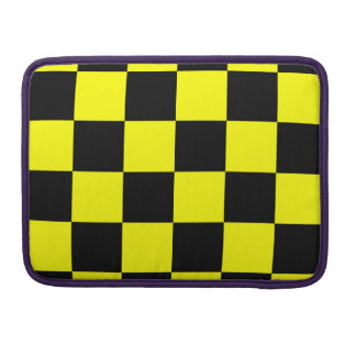 Checkered Large - Black and Yellow MacBook Pro Sleeve