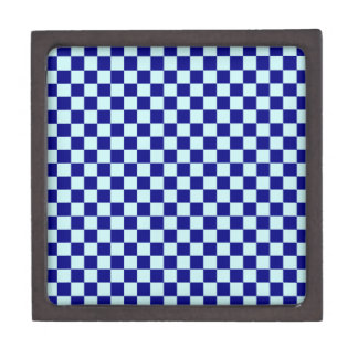 Checkered Large - Blue 2-Pale Blue and Navy Blue Premium Trinket Boxes