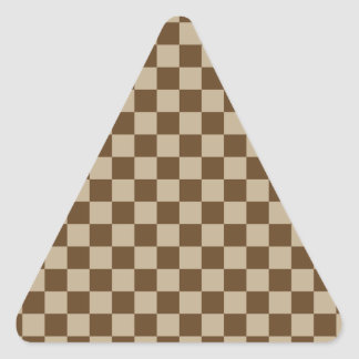 Checkered Large - Brown 2 - Khaki and Dark Brown Triangle Sticker