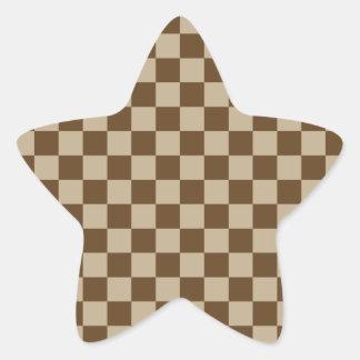 Checkered Large - Brown 2 - Khaki and Dark Brown Star Sticker