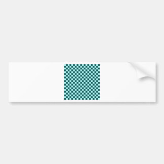 Checkered Large-Green2-Celeste and DeepJungleGreen Car Bumper Sticker