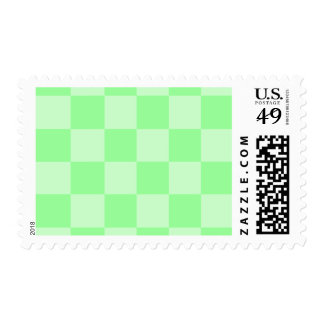 Checkered Large - Green and Light Green Postage Stamp