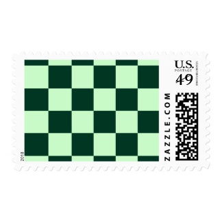 Checkered Large - Light Green and Dark Green Postage Stamp