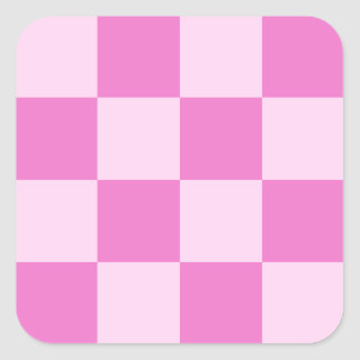 Checkered Large - Pink and Dark Pink Square Sticker