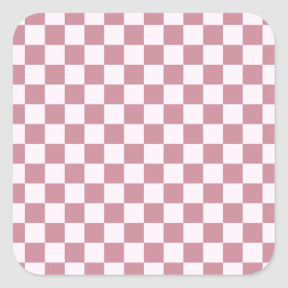 Checkered Large - Pink Lace and Puce Square Sticker