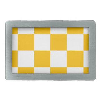 Checkered Large - White and Amber Rectangular Belt Buckles