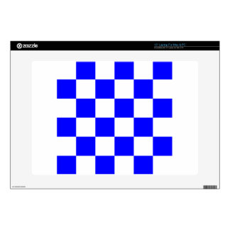 "Checkered Large - White and Blue Decals For 15"" Laptops"