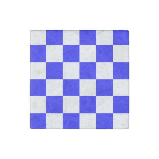 Checkered Large - White and Blue Stone Magnet