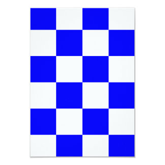 Checkered Large - White and Blue 3.5x5 Paper Invitation Card
