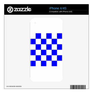 Checkered Large - White and Blue Skins For iPhone 4S