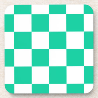 Checkered Large - White and Caribbean Green Beverage Coaster