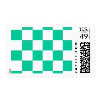 Checkered Large - White and Caribbean Green Postage Stamp