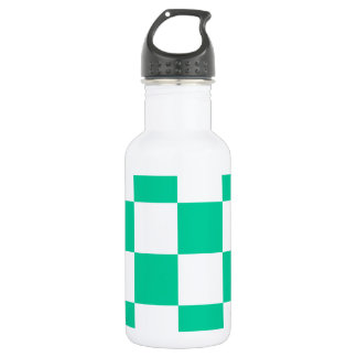 Checkered Large - White and Caribbean Green Water Bottle