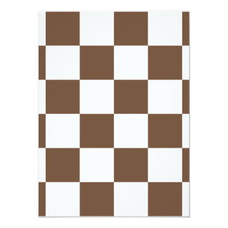 Checkered Large - White and Coffee 5.5x7.5 Paper Invitation Card