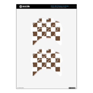 Checkered Large - White and Coffee Xbox 360 Controller Decal