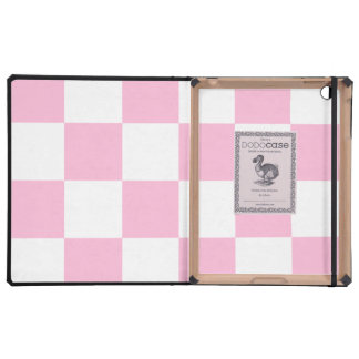 Checkered Large - White and Cotton Candy iPad Covers