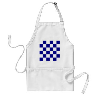 Checkered Large - White and Dark Blue Apron